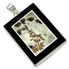 62.98cts natural grey silver leaf jasper 925 sterling silver pendant d42820