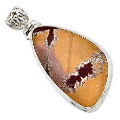 23.46cts natural grey sonoran dendritic rhyolite 925 silver pendant d44633