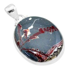 21.18cts natural grey sonoran dendritic rhyolite 925 silver pendant t18340