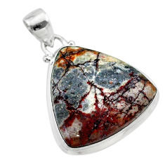 16.06cts natural grey sonoran dendritic rhyolite 925 silver pendant t22654