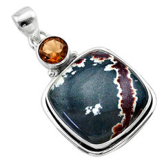 21.29cts natural grey sonoran dendritic rhyolite 925 silver pendant t22660