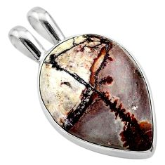 12.07cts natural grey sonoran dendritic rhyolite pear 925 silver pendant t22649