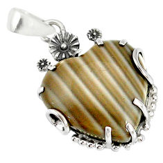 18.95cts natural grey striped flint ohio 925 silver flower pendant r77846