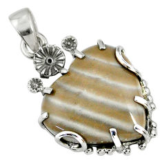 16.28cts natural grey striped flint ohio 925 silver heart pendant r67594