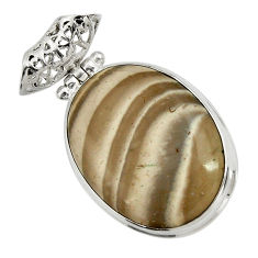 22.59cts natural grey striped flint ohio 925 sterling silver pendant d41548