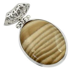 22.59cts natural grey striped flint ohio 925 sterling silver pendant d41556