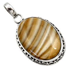 18.70cts natural grey striped flint ohio 925 sterling silver pendant d42401