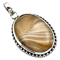 19.72cts natural grey striped flint ohio 925 sterling silver pendant d42402