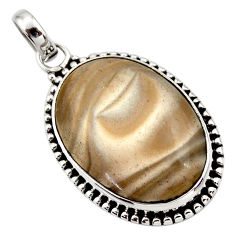 Clearance Sale- 18.15cts natural grey striped flint ohio 925 sterling silver pendant d42409