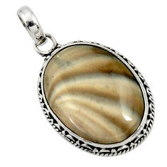 19.72cts natural grey striped flint ohio 925 sterling silver pendant d44741