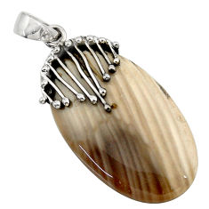 28.90cts natural grey striped flint ohio 925 sterling silver pendant d45545