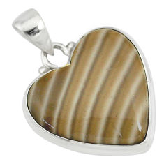 14.23cts natural grey striped flint ohio 925 sterling silver pendant r83181