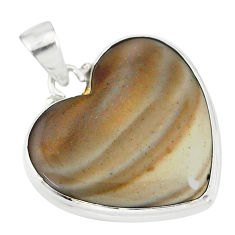 16.73cts natural grey striped flint ohio 925 sterling silver pendant r83182