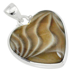 19.23cts natural grey striped flint ohio 925 sterling silver pendant r83183