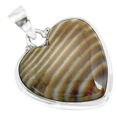 16.20cts natural grey striped flint ohio 925 sterling silver pendant r83188