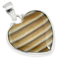 14.23cts natural grey striped flint ohio 925 sterling silver pendant r83190