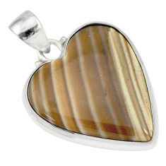 16.20cts natural grey striped flint ohio 925 sterling silver pendant r83193