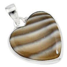 13.70cts natural grey striped flint ohio 925 sterling silver pendant r83194