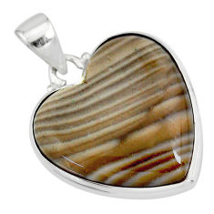 16.73cts natural grey striped flint ohio 925 sterling silver pendant r83197
