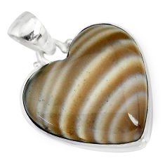16.20cts natural grey striped flint ohio 925 sterling silver pendant r83199