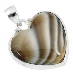 17.22cts natural grey striped flint ohio 925 sterling silver pendant r83212