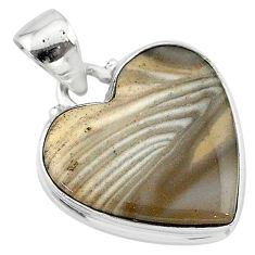 13.10cts natural grey striped flint ohio 925 sterling silver pendant t13264