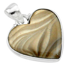13.15cts natural grey striped flint ohio 925 sterling silver pendant t13281