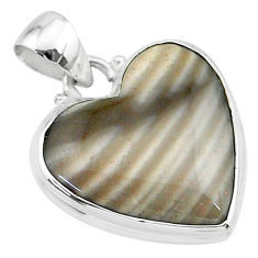 14.72cts natural grey striped flint ohio 925 sterling silver pendant t13282