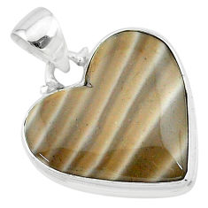 15.08cts natural grey striped flint ohio 925 sterling silver pendant t13283