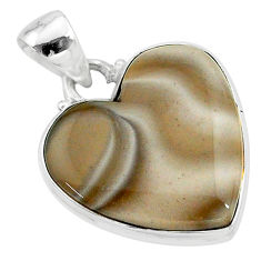 15.08cts natural grey striped flint ohio 925 sterling silver pendant t13285