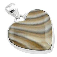 15.65cts natural grey striped flint ohio 925 sterling silver pendant t13287