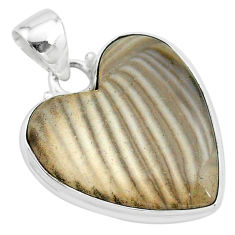 17.57cts natural grey striped flint ohio 925 sterling silver pendant t13292