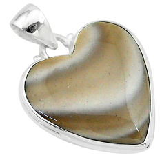 18.17cts natural grey striped flint ohio 925 sterling silver pendant t13293