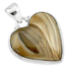 16.73cts natural grey striped flint ohio 925 sterling silver pendant t13295