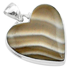20.23cts natural grey striped flint ohio 925 sterling silver pendant t13296