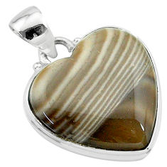 16.20cts natural grey striped flint ohio 925 sterling silver pendant t13298