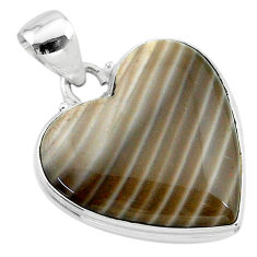 18.70cts natural grey striped flint ohio 925 sterling silver pendant t13300