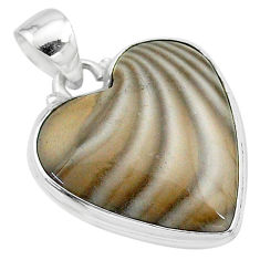 16.20cts natural grey striped flint ohio 925 sterling silver pendant t13301