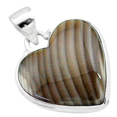 15.65cts natural grey striped flint ohio 925 sterling silver pendant t13302