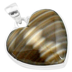 24.38cts natural grey striped flint ohio 925 sterling silver pendant t13304