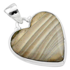 14.18cts natural grey striped flint ohio 925 sterling silver pendant t13306
