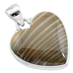 18.70cts natural grey striped flint ohio 925 sterling silver pendant t13308