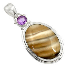 22.05cts natural grey striped flint ohio amethyst 925 silver pendant d41542
