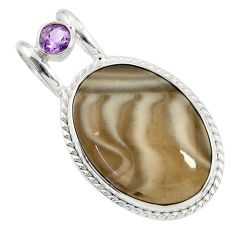 24.00cts natural grey striped flint ohio amethyst 925 silver pendant d41543
