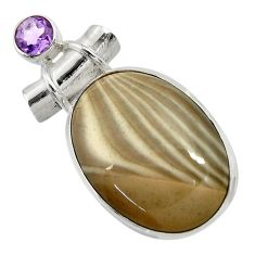 24.38cts natural grey striped flint ohio amethyst 925 silver pendant d41545