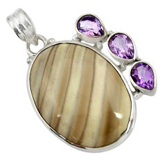 Clearance Sale- 25.00cts natural grey striped flint ohio amethyst 925 silver pendant d41546