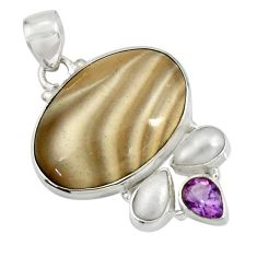 20.85cts natural grey striped flint ohio amethyst pearl silver pendant d41549