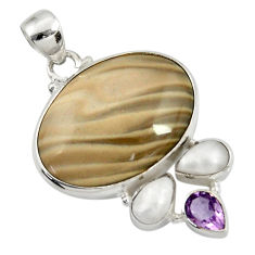 24.00cts natural grey striped flint ohio amethyst pearl silver pendant d41550