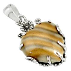 17.96cts natural grey striped flint ohio heart 925 silver flower pendant r77854