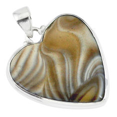 17.57cts natural grey striped flint ohio heart 925 silver pendant r83210